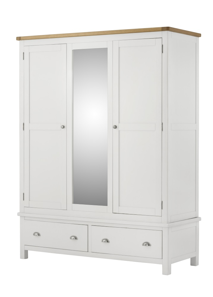 Northport White Triple Wardrobe With 2 Drawers
